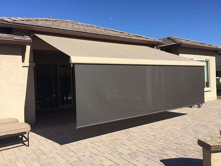 retractable awning with shades