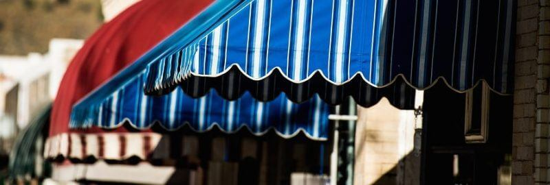 series of colorful types of awnings