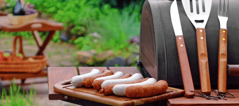 Grilling outdoors on patio