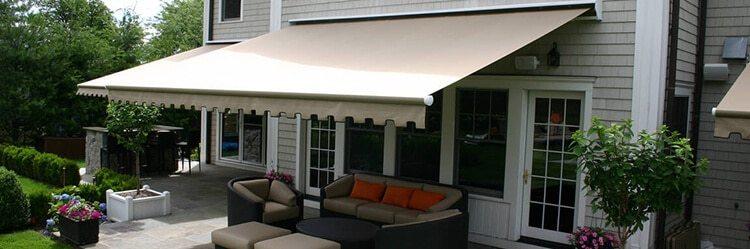 Tan retractable awning